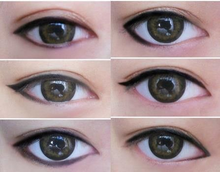 Quick beauty tip: different applications of eyeliner to enhance/change the shape of your eyes.