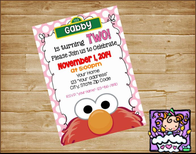 Personalized  Digital  Elmo Birthday Invitation by DoodlesDotsnDimples, $5.75 USD