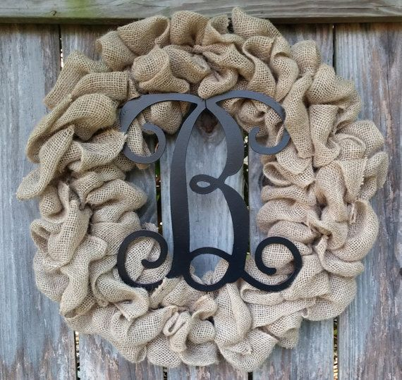 Burlap Initial Wreath Monogram Wreath Burlap Monogram