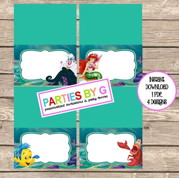 Digital File Little Mermaid Food Table Ariel Ursula by PartiesByG  sc 1 st  Pinterest & 13 best Food Tent Labels images on Pinterest | Food tent Food ...