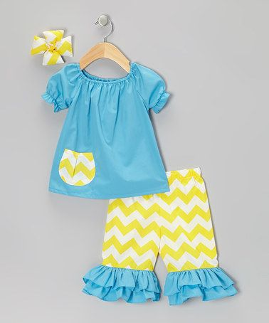 Take a look at this Turquoise Zigzag Capri Pants Set - Infant, Toddler & Girls by Molly Pop Inc. on #zulily today!