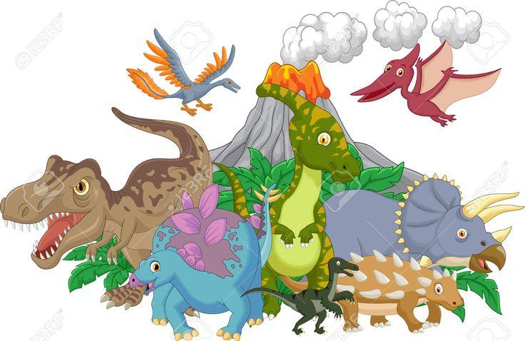 Collectie Dinosaurus Met Vulkaan Royalty Vrije Cliparts, Vectoren, En Stock Illustratie. Image 45092212.