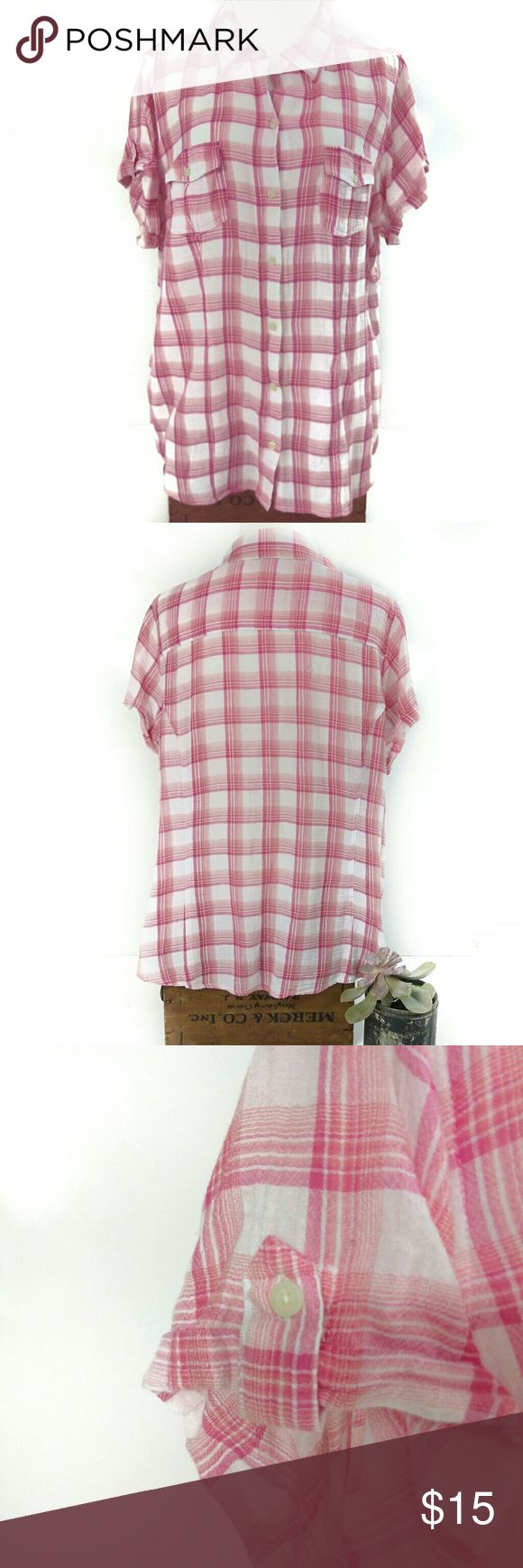"""Torrid Pink & White Plaid """"Camp"""" Button Down Great condition!  Size 1X. 25"""" pit to pit, 30"""" shoulder to hem, 16"""" shoulder seam to shoulder seam, 7"""" sleeves with buttoned cuff holster. I apologize that my mannequin is super small, and therefore does not do this adorable top the justice that a curvy woman would provide!   Fun, lightweight Torrid Camp pink and white plaid button down top. Short rolled sleeves with cuff holsters. Slightly sheer, but not so that it would require an under shirt…"""