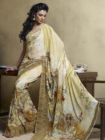 Yellow Faux Georgette Saree, http://www.junglee.com/dp/B0098FEKAY/ref=cm_sw_cl_pt_dp_B0098FEKAY  #Laxmipati #Sarees