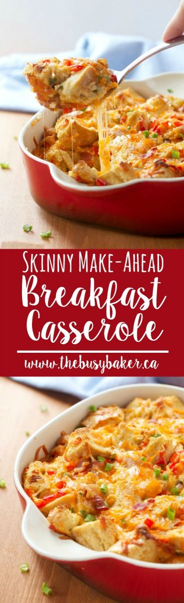 This Skinny Make-Ahead Breakfast Casserole makes the perfect #FathersDay brunch! www.thebusybaker.ca