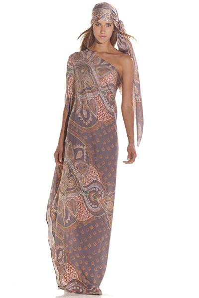 Caftan Dress   Lyza One Shoulder Caftan Dress — Pink Mascara