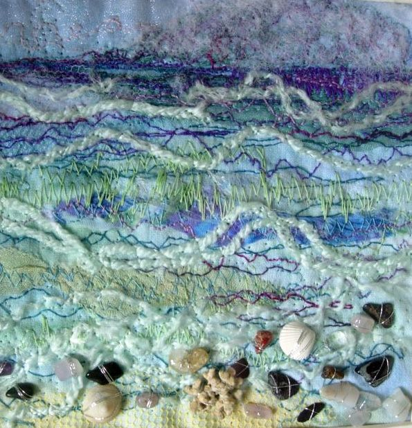 Cath Stonard Textile Arts - Seashore - self dyed fabric, sun printing, fabric manipulation, hand stitch, free machine stitch, couching and beading. hand stitched, onto backgrounds of rusted cotton fabric.