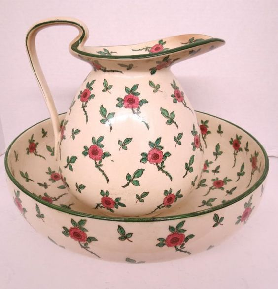 Royal Doulton Floral Design Water Pitcher with Matching  Bowl: