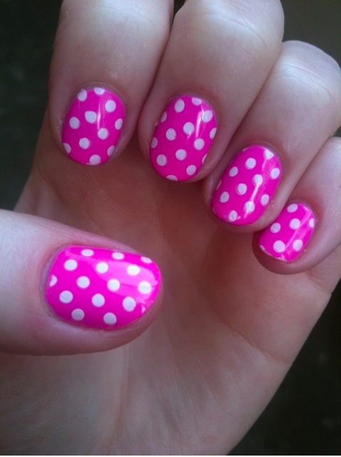Pink polka dot nails. Peppermint Twist from Color Club.