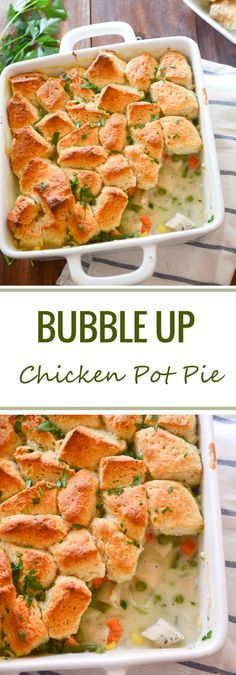Bubble Up Chicken Pot Pie - a good way to use up some leftover shredded rotisserie chicken - Recipe Diaries