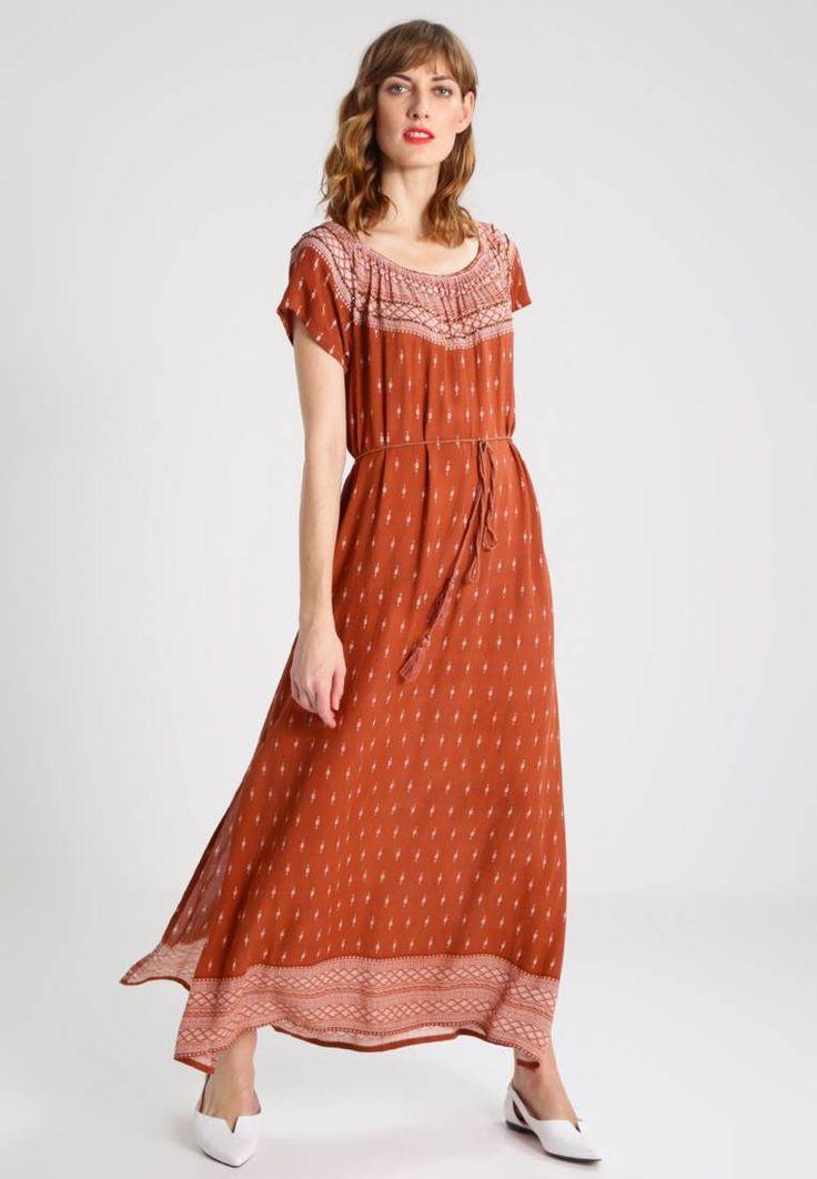 Cream. ABUJA DRESS - Maxi-jurk - sun brown. Materiaal buitenlaag:100% viscose. Pasvorm:normaal. Halslijn:ronde hals. Details:met ceintuur. Totale lengte:129 cm bij maat 42. patroon:print. Mouwlengte:korte mouwen. Lichaamslengte model:Ons mod...