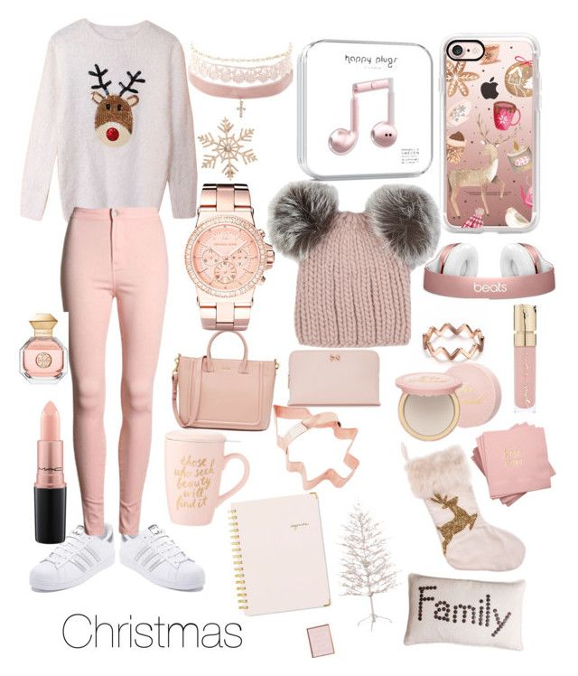 """Christmas is here!!"" by anisiabt on Polyvore featuring adidas, Casetify, Eugenia Kim, John Lewis, Michael Kors, Charlotte Russe, MAC Cosmetics, Ted Baker, Tory Burch and Too Faced Cosmetics"