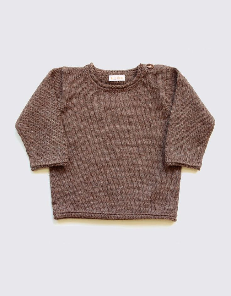 Alpaca baby sweater in natural brown - Wild Wawa