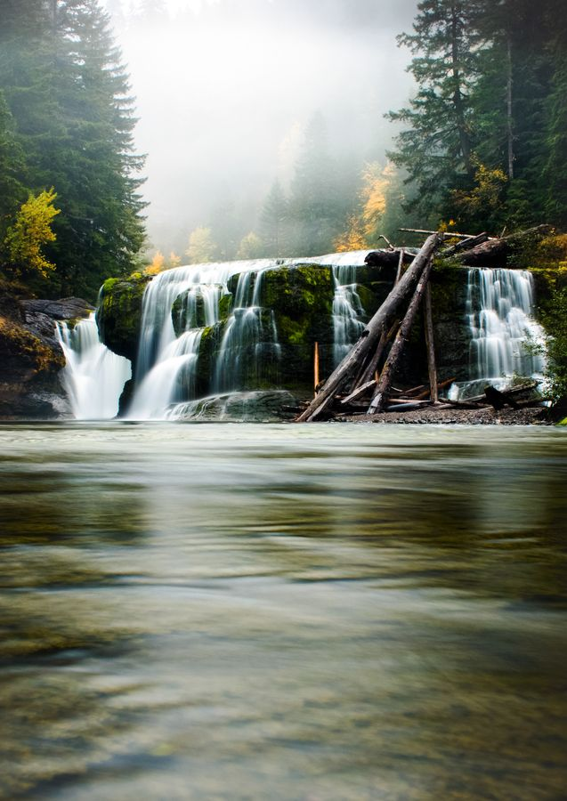 Cold November autumn, fog, water, river, fall, long exposure, washington, pacific northwest, pnw, lower lewis river, lower lewis falls,