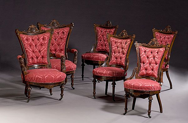 Eight Piece Parlor Suite Attributed To John Jelliff, Newark, New Jersey  c. 1865-1870