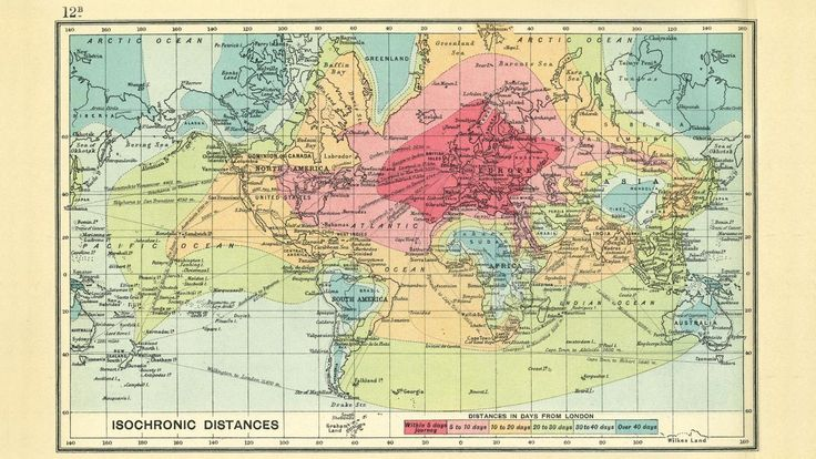 Isochronic Distances. Distances in Days from London.