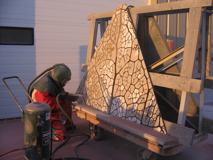 Ves Vukovic of Stonemarks Engraving helping create a panel for my pyramid for the Muttart Conservatory in Edmonton
