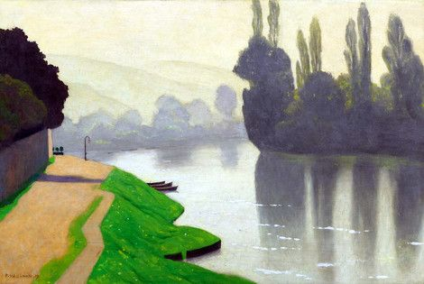 """""""Morning Mist at Andelys"""". Félix Edouard Vallotton (December 28, 1865 – December 29, 1925) was a Swiss painter and printmaker associated with Les Nabis. He was an important figure in the development of the modern woodcut. (Wikipedia)"""