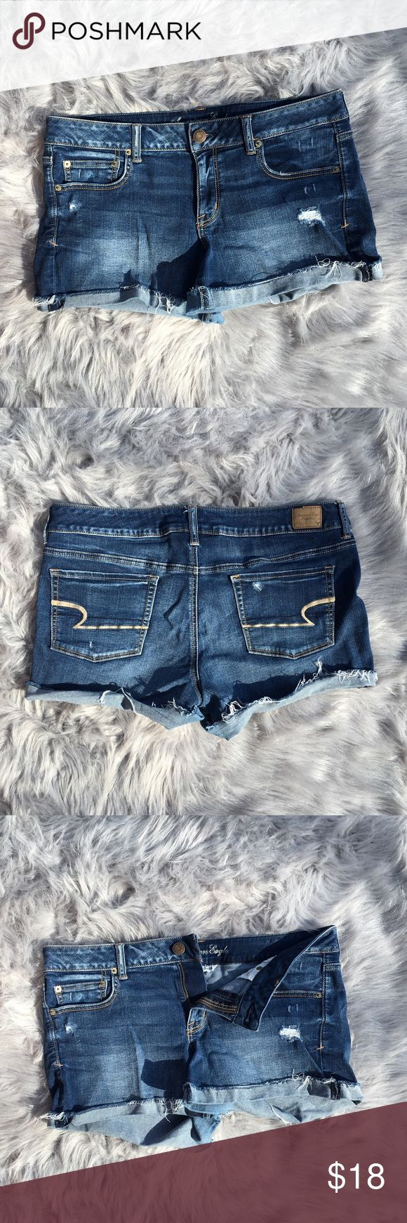 """American Eagle fringe jean shorts American Eagle """"Super Stretch"""" jean shorts. Only worn a handful of times. Very comfortable. Smoke free home. No stains. The bottom part is sewn on the sides and folded around the rest. Size:14. About 2.5 inch inseam. American Eagle Outfitters Shorts Jean Shorts"""