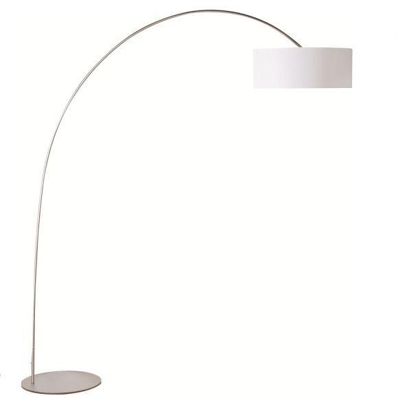Moderne Bogen-Stehleuchte - Stahl gebürstet - Leuchtenschirm Kunststoff weiss weiß/stahlfarbig