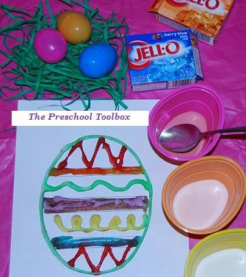 This simple craft from The Preschool Toolbox uses Jello and a free printable template for eggs-ceptional fun. The finished eggs carry the Jello scent! Pinned by SPD Blogger Network. For more sensory-related pins, see http://pinterest.com/spdbn
