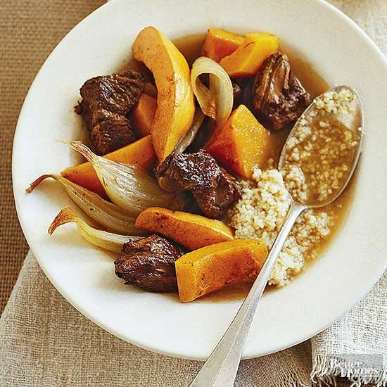 Toss a pot roast and your favorite winter vegetables into the slow cooker to make this hearty beef stew recipe. Add couscous into the mix for a fun flavor and texture! This easy dinner recipe serves 8, so serve to a large table or keep the leftover for lunch the next day!