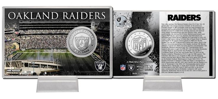 the Stadium Shoppe - Oakland Raiders Silver Coin Card, $19.99 (http://www.thestadiumshoppe.com/oakland-raiders-silver-coin-card/)