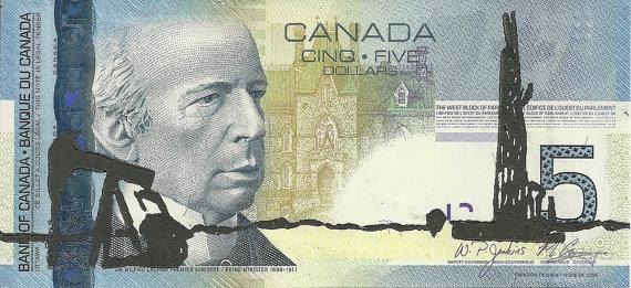Oil Fields (Canadian Romantics Series) - Linocut Print - Patrick Bodnar #art #banknote #linocut #printmaking #money #five #dollar #bill