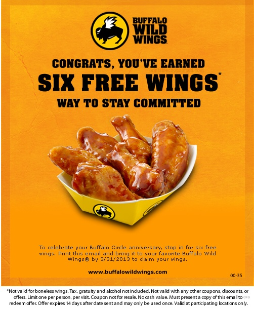 buffalo wild wings printable coupons buffalo wings free six wings printable 20719