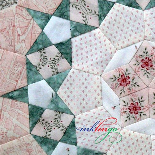 Good news! Passacaglia is NOT just for quilters who use English Paper Piecing (EPP)! It is much easier to print the shapes on fabric with Inklingo and sew with a running stitch. Some quilters can sew 3 rosettes with Inklingo in the time it would take to make ONE with EPP.  http://lindafranz.com/shop/millefiori-quilt-templates/40