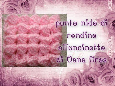Punto nido di rondine all'uncinetto by Oana - YouTube