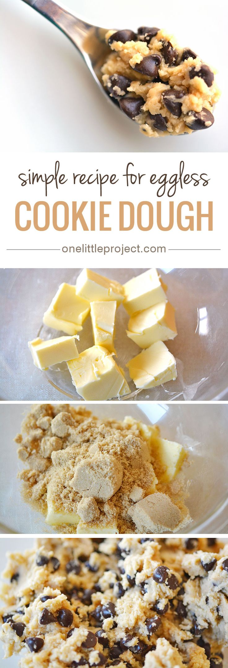 Eggless Cookie Dough - This recipe for edible, safe to eat cookie dough is AMAZING! I could have eaten the whole bowl.