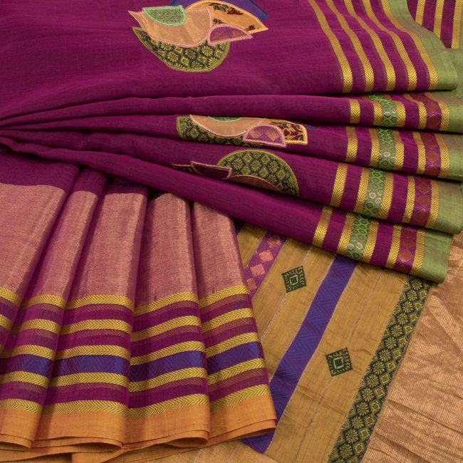 Buy online Hand Crafted Purple Origami Maheshwari Silk Cotton Saree With Embroidered Work 10014103