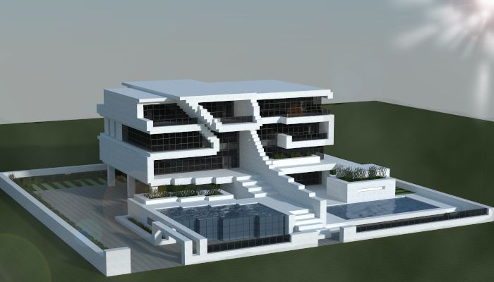 Large modern house made in minecraft.