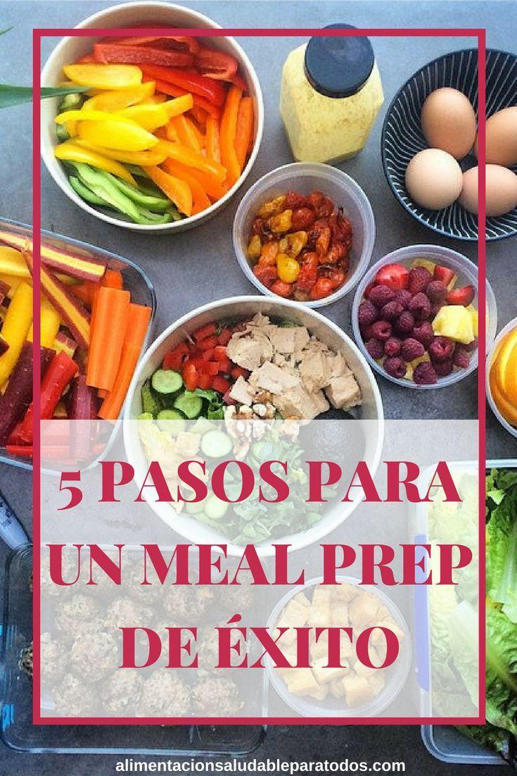 5 pasos para lograr que tu meal prep sea exitoso.  Planifica tus comidas y cocina con antelación.  #mealprep #planificarlascomidas #alimentacionsaludable