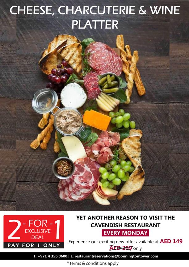 Yet another reason to visit the #CavendishDXB -  try out our our Cheese, Charcuterie, and Wine Platter for only AED 149 instead of AED 299.