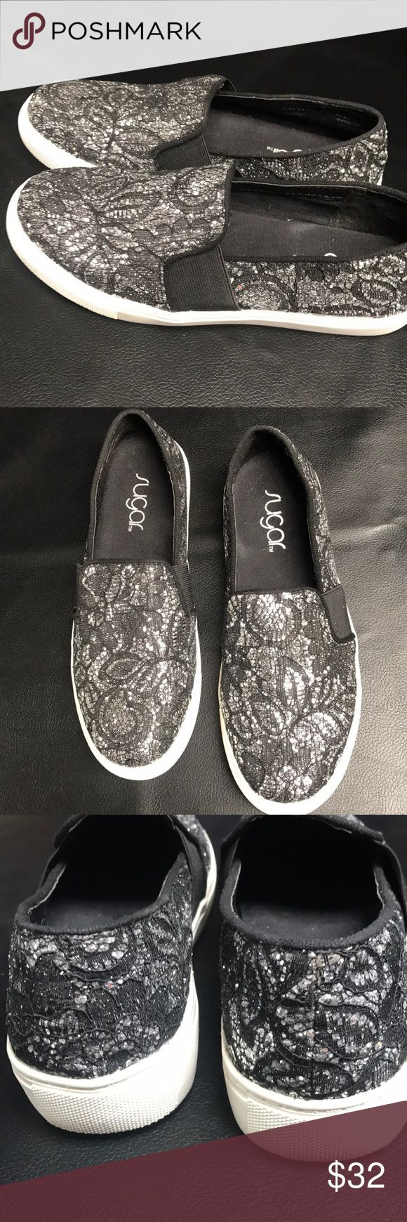 Sugar Izette Slip On Loafers-Price Dropped! Sugar Izette Slip On Loafers Black and Silver Metallic Lace Design  Excellent Condition!!  SIZE: 6 sugar Shoes Flats & Loafers
