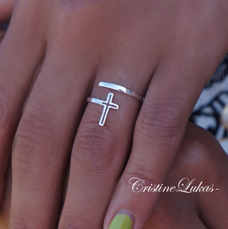 Celebrity Style By-Pass Cross Ring  - Double Wrap Cross In Sterling Silver or White Gold by CristineLukas on Etsy https://www.etsy.com/listing/176976750/celebrity-style-by-pass-cross-ring