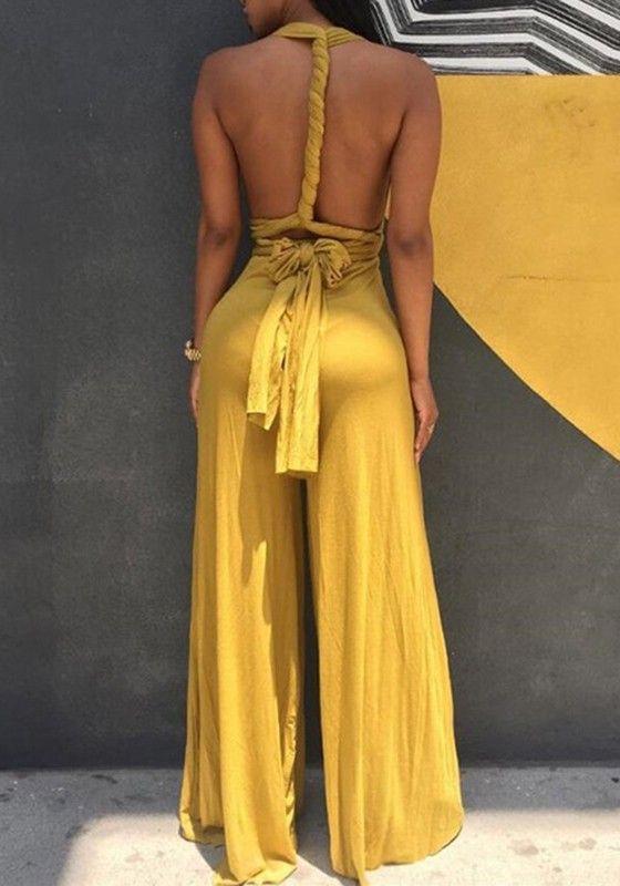 Yellow Plain Belt High Waisted Sexy Long Jumpsuit