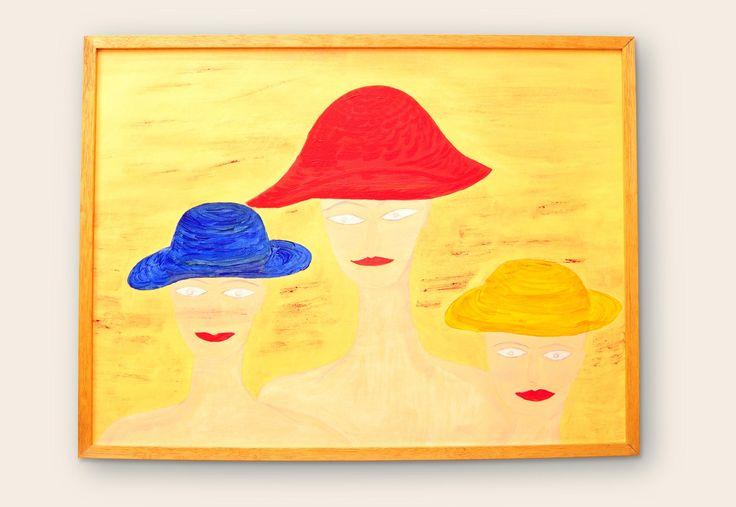 Tres sombreros Ocultarse de lo que esta de-bajo.  Medidas: 60 x 80 | Técnica: Acrílico sobre bastidor. #pintura #subconsciente