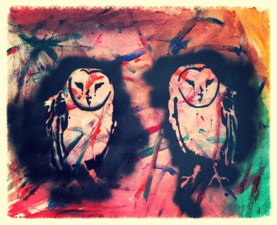Wise Owl Graffiti Painting 16 X 20 by SalvagedTimePhoto on Etsy