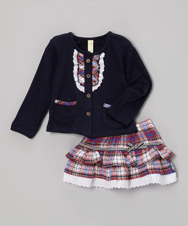Take a look at this Navy & Red Plaid Cardigan & Skirt - Infant & Toddler by Maria Elena on #zulily today!