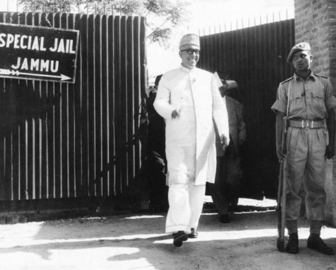 Sheikh Abdullah coming out of the Jammu jail in 1964 after 7 years of detention in the Kashmir Conspiracy Case. It was a legal case filed by the GoK & the GoI against Sheikh Abdullah and 23 others, who were accused of conspiracy against the state for allegedly espousing the cause of an independent Kashmir. Following the Hazratbal disappearance episode in Kashmir and certain other developments, Jawaharlal Nehru took a controversial and sudden diplomatic decision to release Sheikh Abdullah.