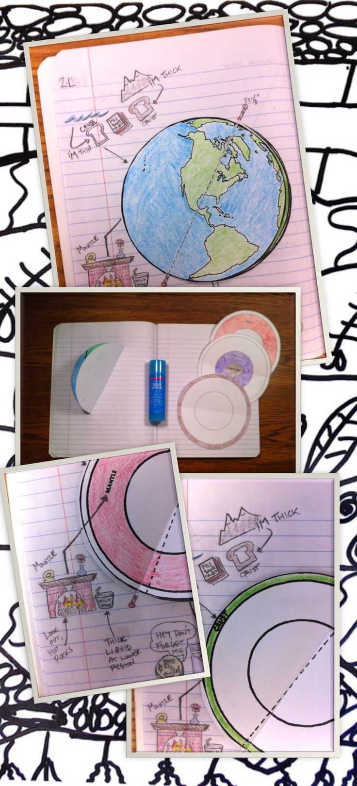 Extremely engaging earth's layers and basic geology lesson, foldable, 16 slide PowerPoint, KWL chart (class starter and exit ticket), student note sheet, and video wrap up! This is an extremely popular lesson in my classroom! Students learn via creating and decorating a folding earth that functions as a mini book that describes the layers of the earth. Highly engaging, high level thinking activity / lab. Perfect for classrooms that utilize interactive notebooks.