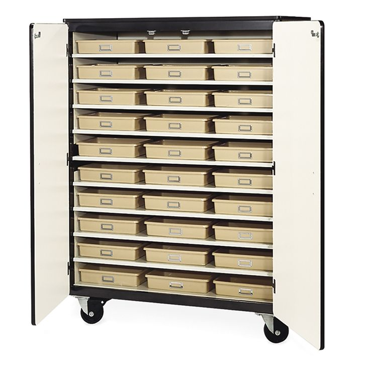 Mobile Storage Cabinet with Tote Trays - Locking