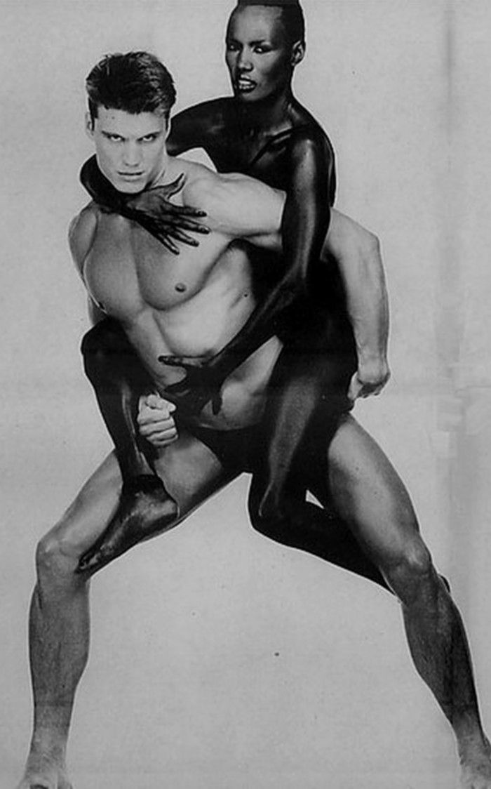 Grace Jones & Dolph Lundgren. Oh yea she was soooo cool on stage at Lovebox years ago.