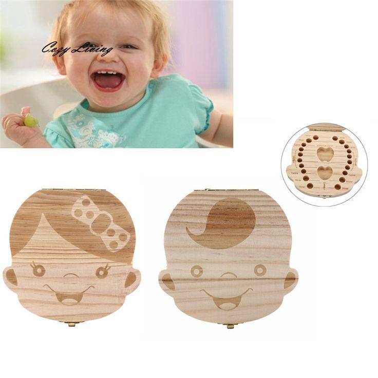 שן 2 צבעים ארגונית קופסא שיני תינוק חלב לחסוך עץ תיבת אחסון קופסות אחסון לילדים ילד וילדה אנגלית ספרדית D13