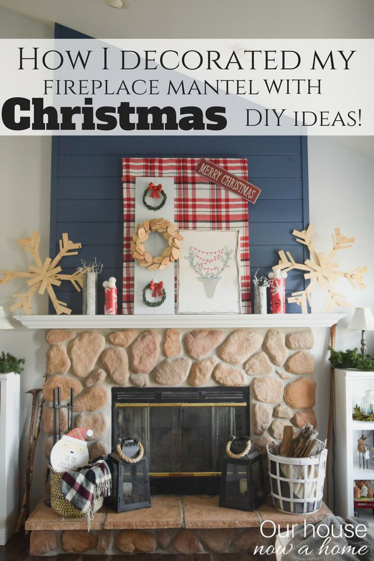 How I decorated my fireplace mantel with Christmas DIY ideas! How to and full tutorials for all of the crafts.  Holiday handmade DIY decor ideas. Decorating a Christmas fireplace mantel with bold, whimsical, and rustic decorating projects. Keeping cost low and inspiration high, perfect way to decorate the home for the holidays.