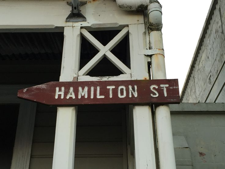 Hamilton Street sign, located on the old Bank Managers house, cnr of Revell and Hamilton streets. Hamilton Street has many of the few heritage buildings left in Hokitika.  The Renton's Hardware building which is the largest building in the street is currently being considered for demolition. Photo taken February 2016