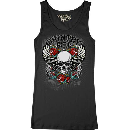 Juniors Country Girl® Skull Flowers Baby Rib Tank